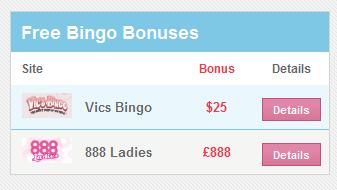 bingo bonuses widget